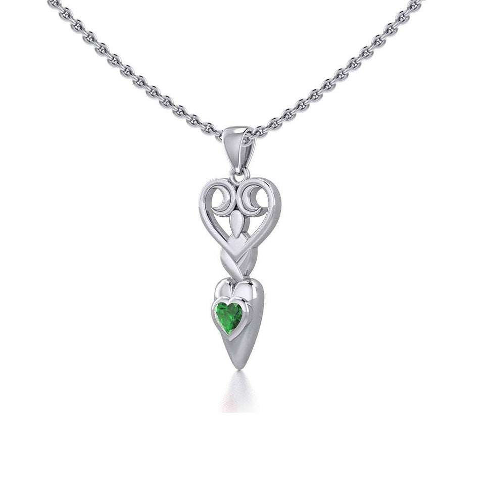 Goddess with Heart Gemstone Silver Pendant TPD5657 Pendant