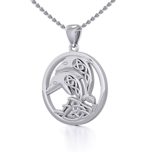 Celtic Jumping Dolphins Silver Pendant TPD5700 Pendant