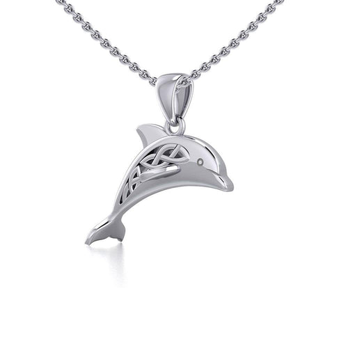Celtic Jumping Dolphin Silver Pendant TPD5702 Pendant