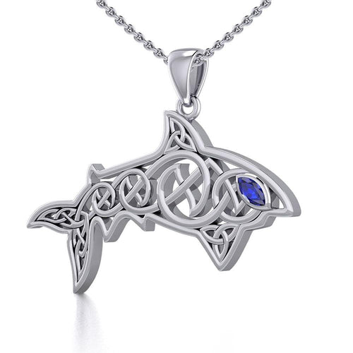 Celtic Knotwork Shark Silver Pendant with Gemstone TPD5706 Pendant
