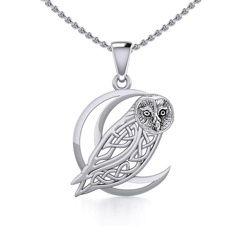 Celtic Owl on Crescent Moon Silver Pendant TPD5714 Pendant