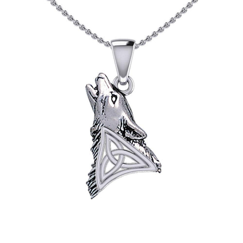 Celtic Howling Wolf Silver Pendant TPD5717 Pendant