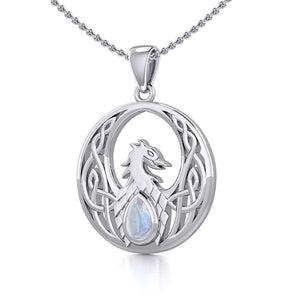 Celtic Phoenix Silver Pendant with Gemstone TPD5719 Pendant