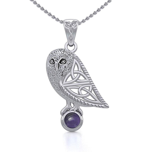 Celtic Owl Silver Pendant with Gemstone TPD5720 Pendant