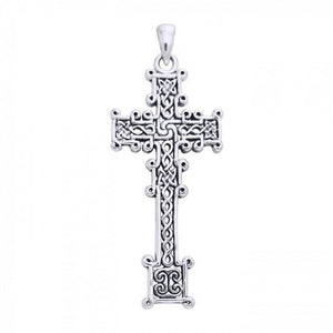 Cari Buziak Ornate Celtic Knotwork Cross Silver Pendant TPD630 peterstone.