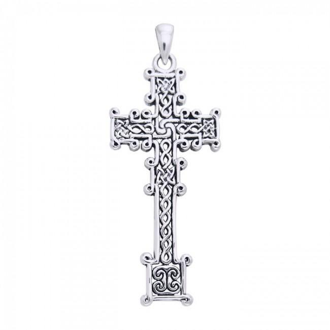 Cari Buziak Ornate Celtic Knotwork Cross Silver Pendant TPD630