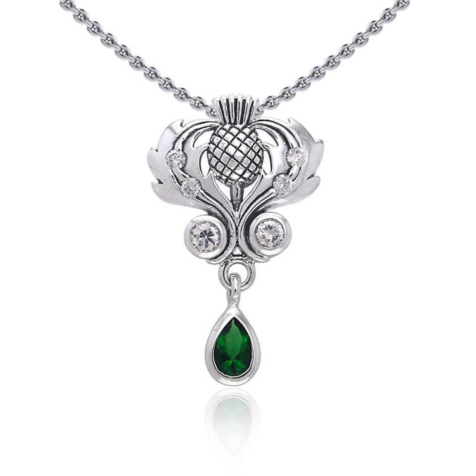 Renowned affirmation of Celtic tradition ~Sterling Silver Jewelry Scottish Thistle Pendant with Gemstone accent TPD687