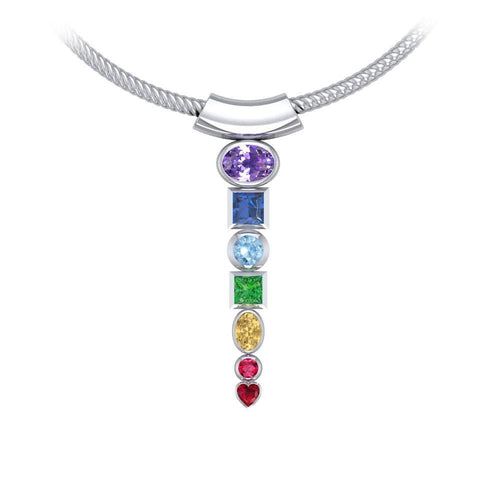 Silver Chakra with Gems Pendant TPD857 peterstone.
