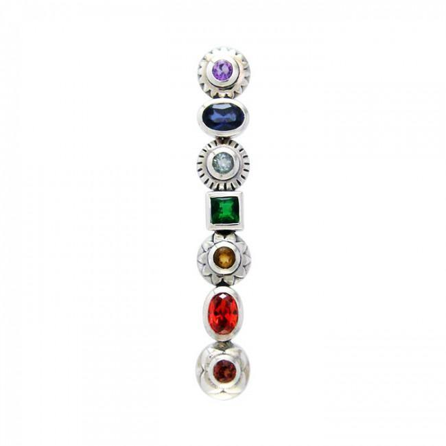 Silver Chakra with Gems Pendant TPD858