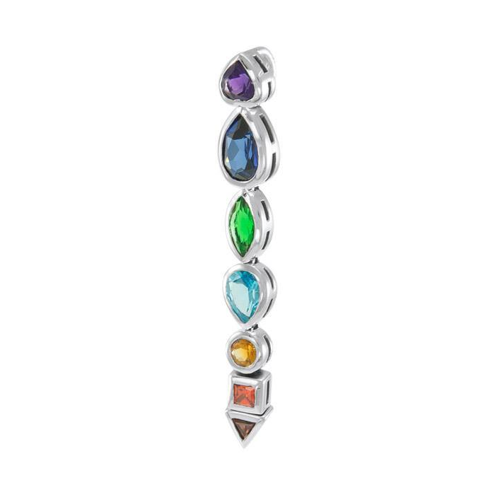 Silver Chakra with Gems Pendant TPD859