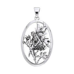 Rose Red Fairy Silver Pendant TPD871 peterstone.