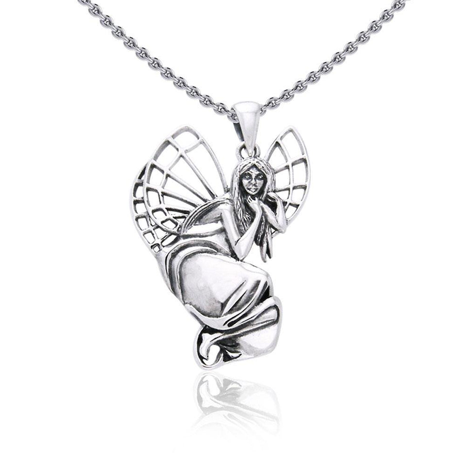 A fairy dreaming in the forest ~ fine Sterling Silver Jewelry Pendant TPD968