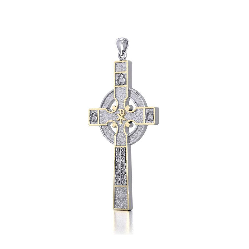 Medieval Celtic Cross Silver and 18K Gold Accent Pendant TPV121 peterstone.