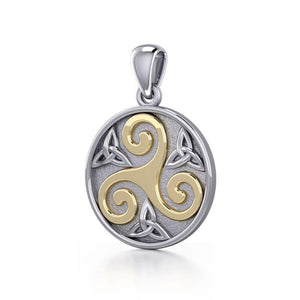 Celtic Triple Spiral Trinity/Triquetra Silver and Gold Pendant TPV345