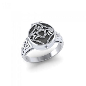 Irish Claddagh Sterling Silver Poison Ring TR1358 peterstone.