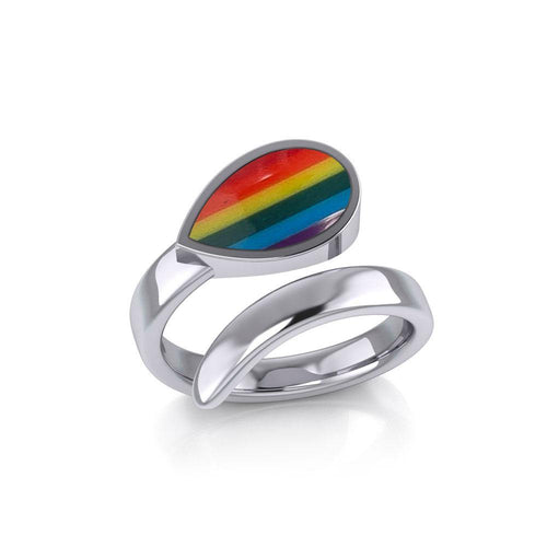 Rainbow Pride LGBTQ Sterling Silver Ring TR1367 peterstone.
