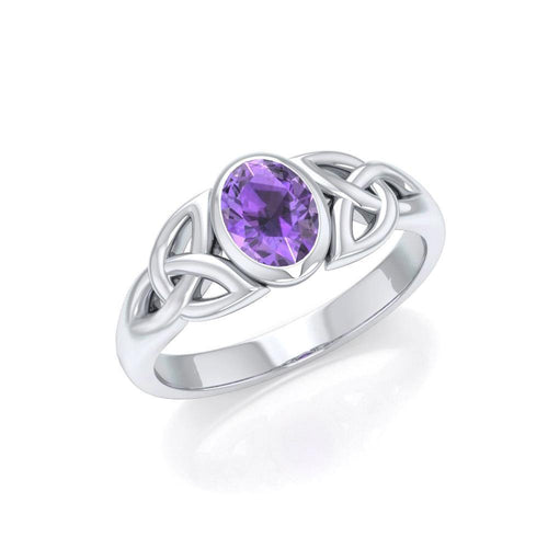Love in interconnectedness ~ Sterling Silver Celtic Triquetra Knot Ring with Gemstone TR1420