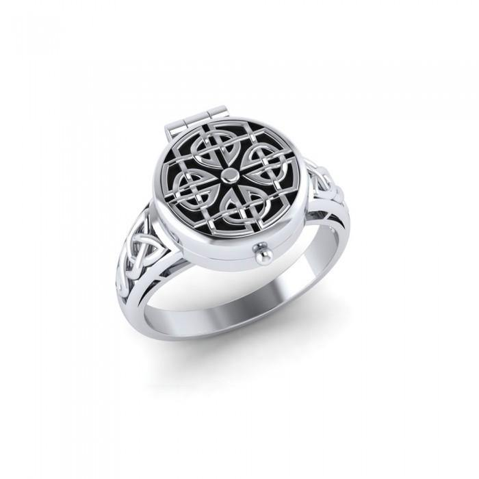 Celtic Knotwork Silver Poison Ring TR1635 peterstone.