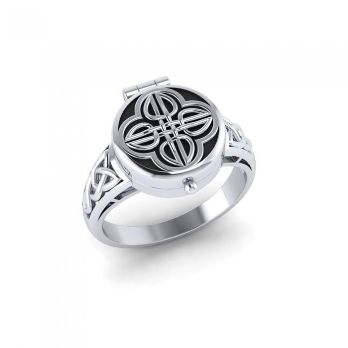 Celtic Knotwork Silver Poison Ring TR1638