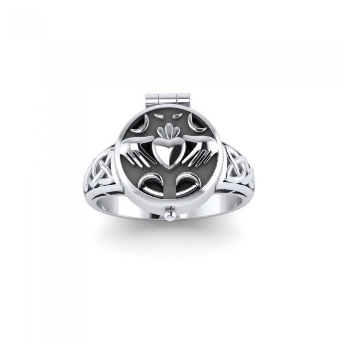 Irish Claddagh Sterling Silver Poison Ring TR1639 peterstone.