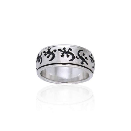 Gecko Silver Spinner Ring TR1684 peterstone.