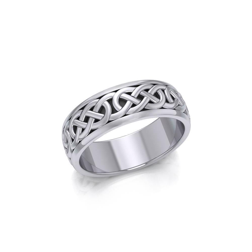 Celtic Knotwork Silver Spinner Band Ring TR1687