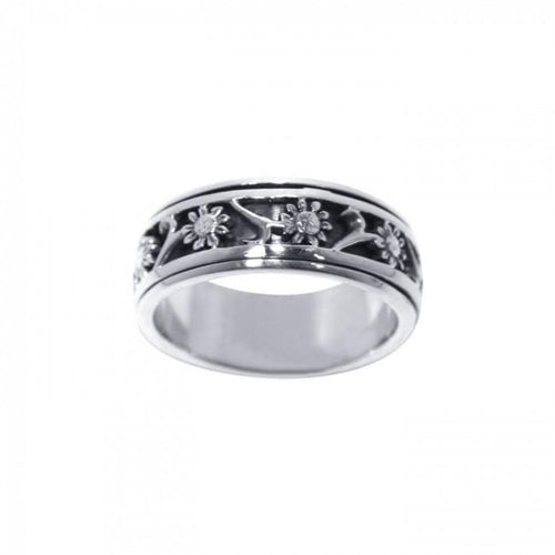 Silver Flower Spinner Ring TR1691 peterstone.
