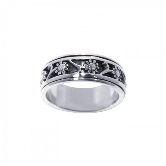 Silver Flower Spinner Ring TR1691 Ring
