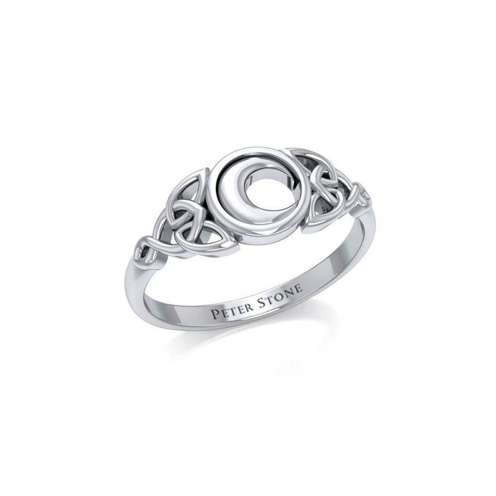 Celtic Crescent Moon Silver Ring TR1746