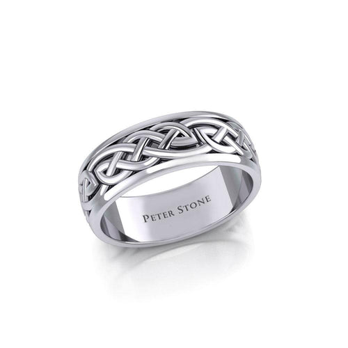 Celtic Knotwork Silver Wedding Ring TR1757 peterstone.