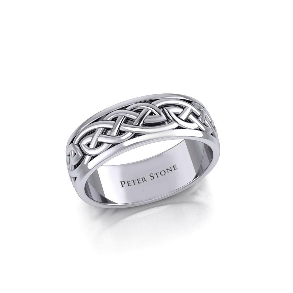 Celtic Knotwork Silver Wedding Ring TR1757