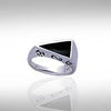 Modern Triangle Inlaid Silver Ring with Side Motif TR3372