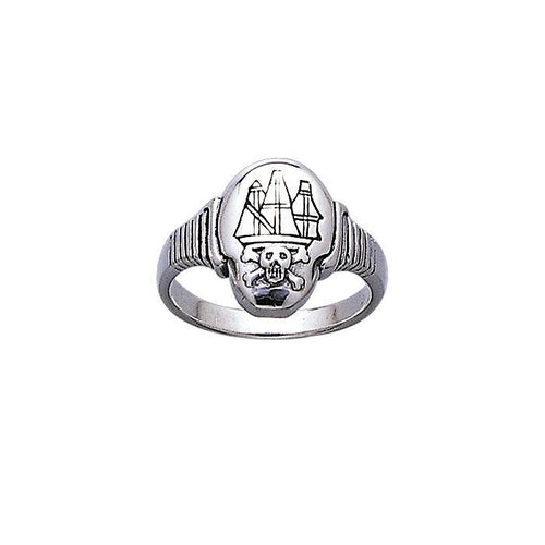 Jolly Roger Ship ~ Sterling Silver Ring TR3662 peterstone.