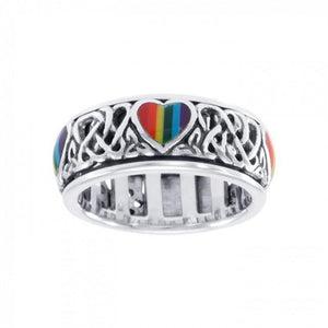 Celtic Rainbow Hearts Spinner Ring TR3694 peterstone.