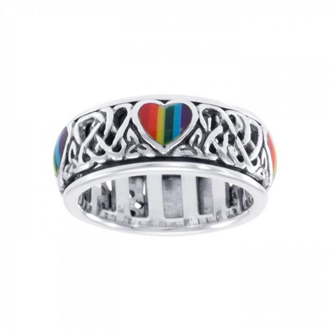 Celtic Rainbow Hearts Spinner Ring TR3694