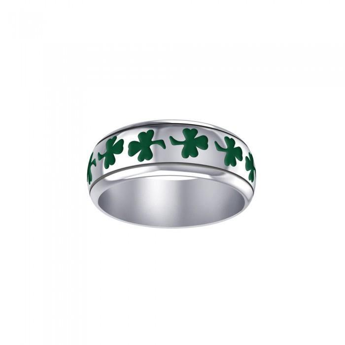 Celtic Shamrock Silver Ring with Enamel TR3710 peterstone.
