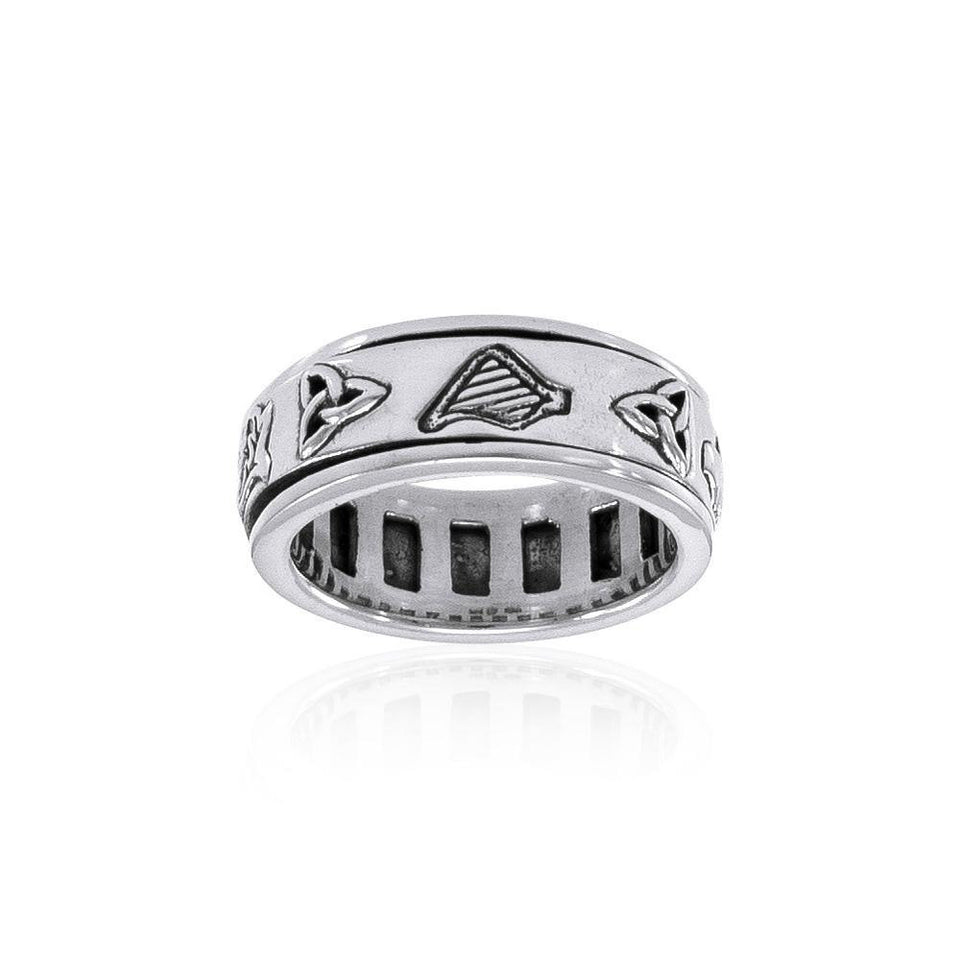 Celtic Knotwork Silver Spinner Ring TR3743 peterstone.