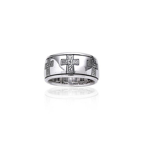 Celtic Knotwork Sterling Silver Cross Spinner Ring TR3779 peterstone.