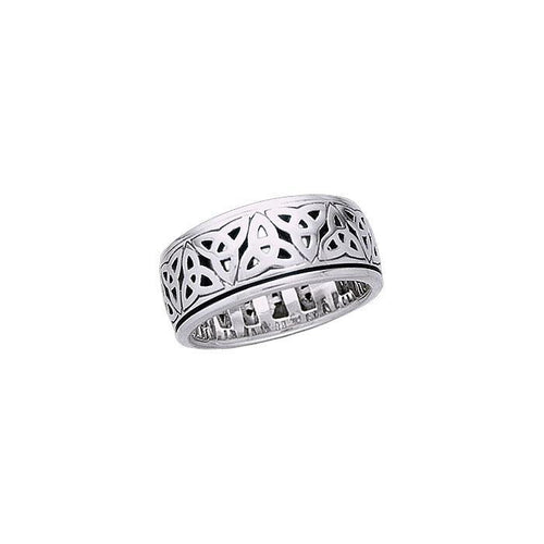 Celtic Trinity Knots Spinner Ring TR3780 peterstone.