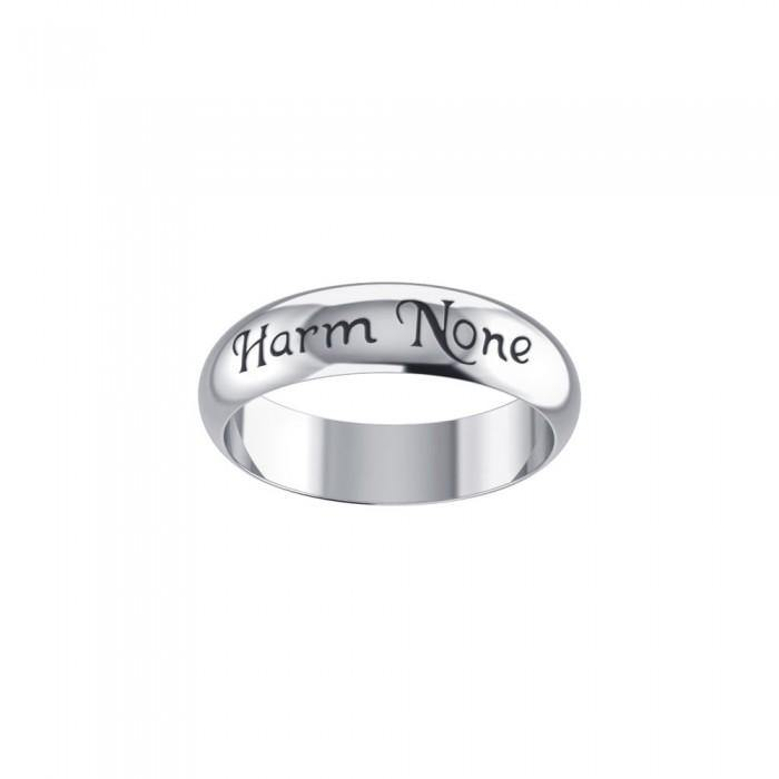 Harm None Inscribed Band Sterling Silver Ring TR3788