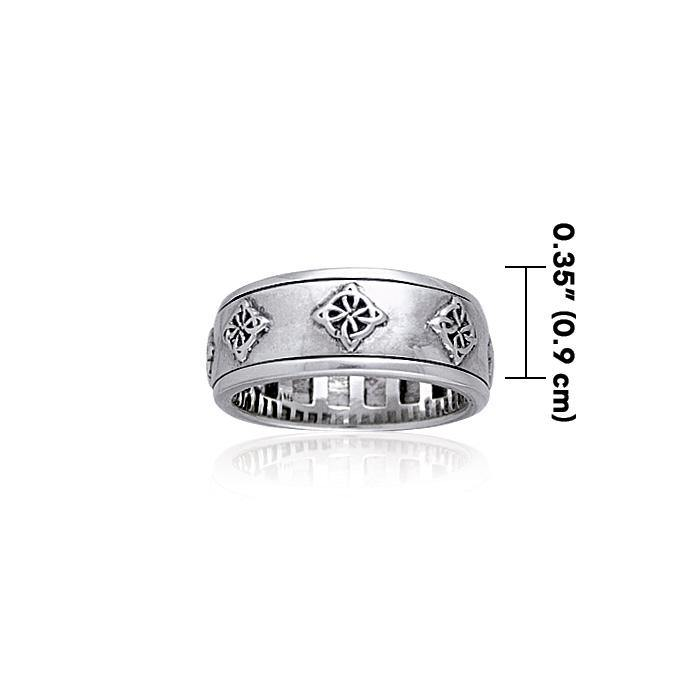 Celtic Quaternary Knot Silver Spinner Ring TR3812 peterstone.