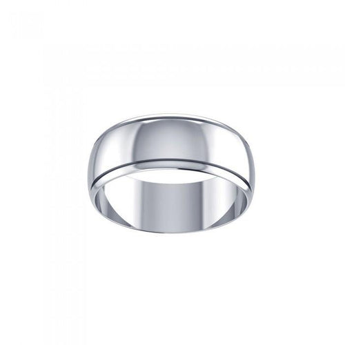 Wedding Silver Band Ring With Stripe TR3866 peterstone.