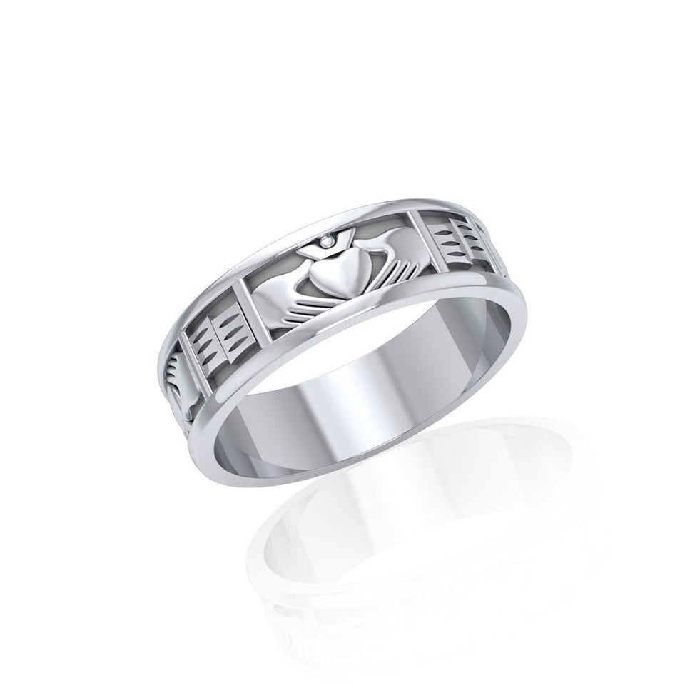 Irish Claddagh Silver Band Ring TR403 peterstone.
