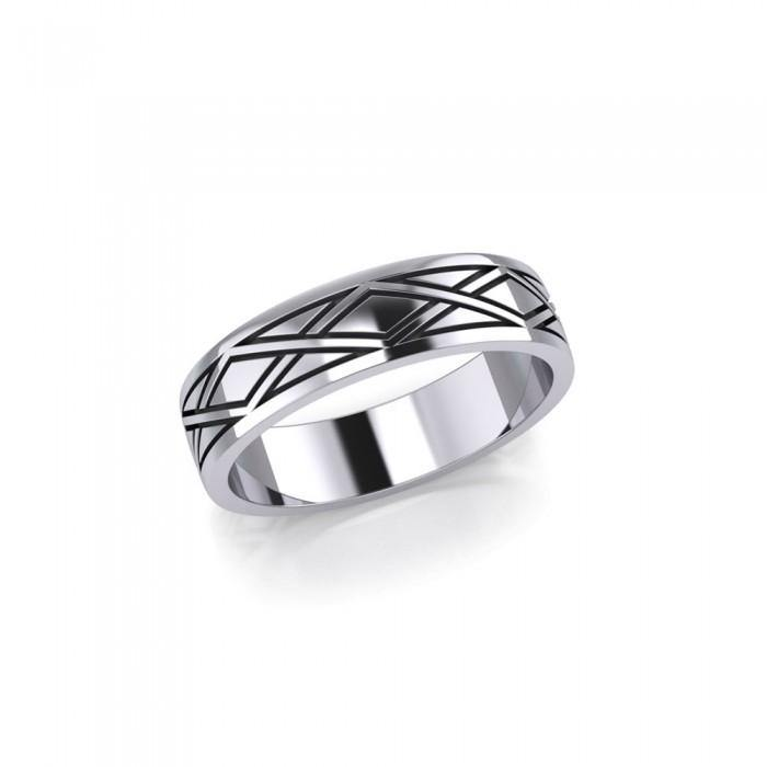 Weave Design Silver Ring TR568