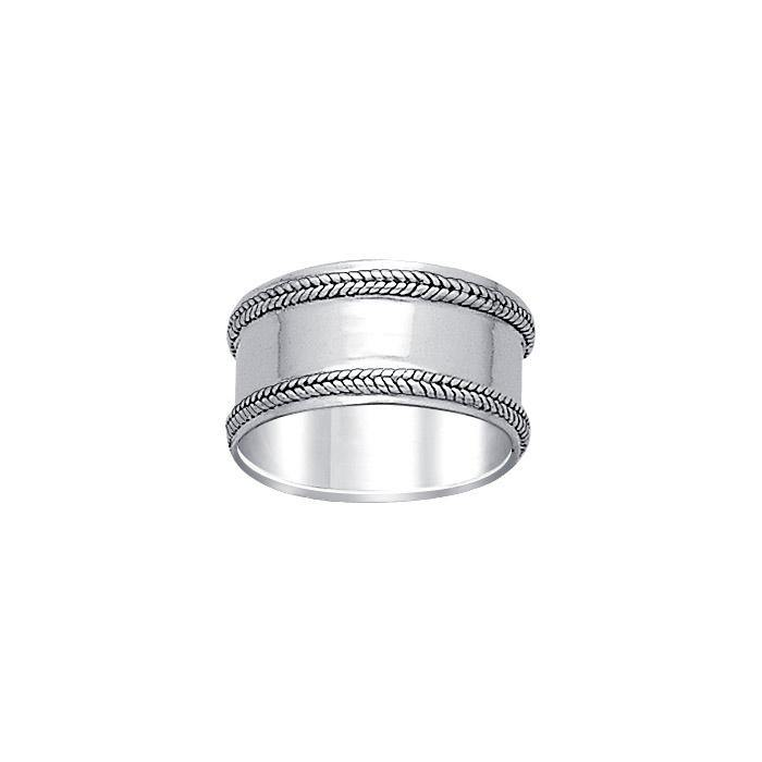 Double Braid Silver Wedding Ring TR581