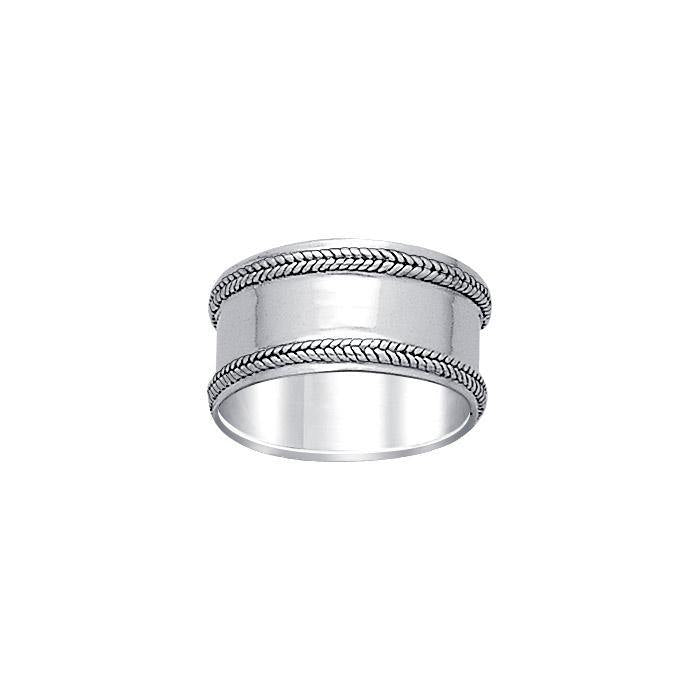 Double Braid Silver Wedding Ring TR581 peterstone.