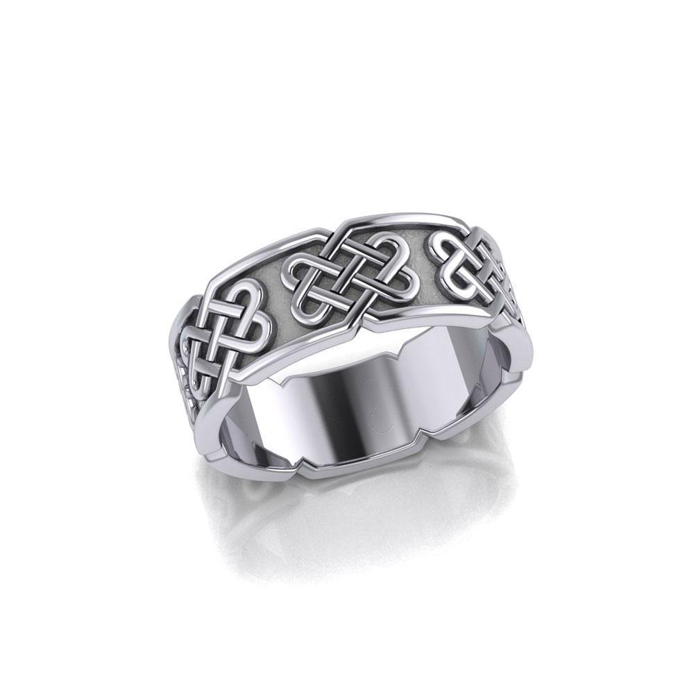 A powerful message of endless interconnection ~ Sterling Silver Celtic Knotwork Ring TR628