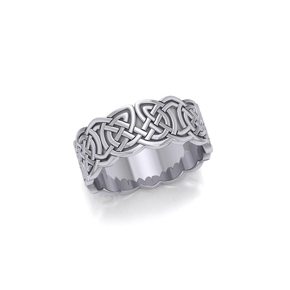 Celtic Knotwork Silver Wedding Ring TR660 peterstone.