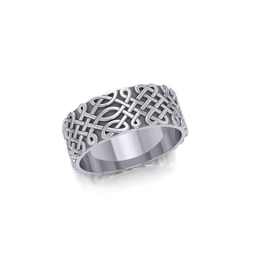 A beautiful representation of eternity ~ Sterling Silver Celtic Knotwork Ring TR675 peterstone.