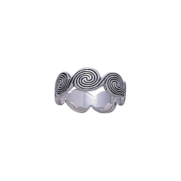 Peter Stone Celtic Silver Spiral Ring TR730